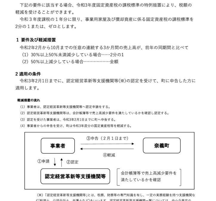 奈義町 新型コロナウイルス感染症に関連した令和3年度固定資産税の軽減措置について