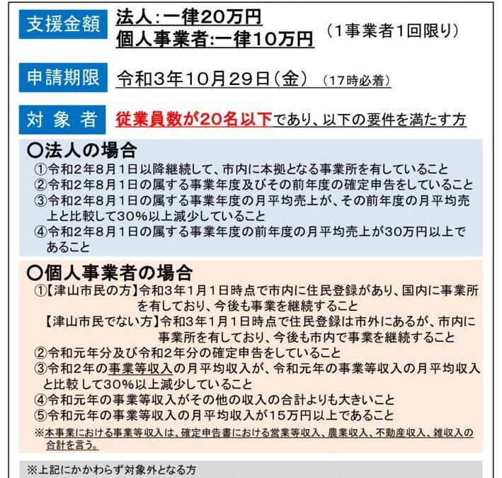津山市事業継続支援金について