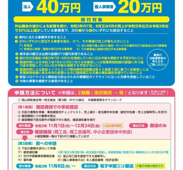 岡山県飲食店等一時支援金(第3期)について