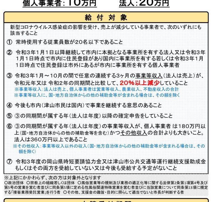 津山市経営安定化一時金について